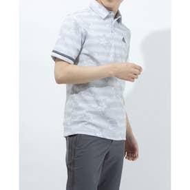 メンズ ゴルフ 半袖シャツ フラワープリント 半袖シャツ GM0842 (シルバー)
