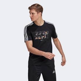 M 3ストライプス DISNEY グラフィックTシャツ (ブラック)