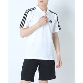 メンズ 半袖ポロシャツ MESS3ストライプスPQポロシャツ GK9138 (ホワイト)