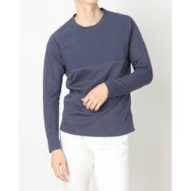 メンズ ゴルフ 半袖シャツ ADICROSS ファブリックミックス 長袖Tシャツ H28213 (グレー)