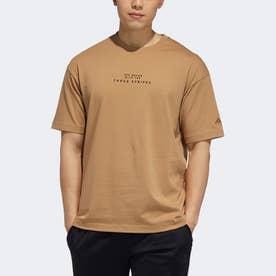 エンブロイダード 半袖Tシャツ (ブラウン)