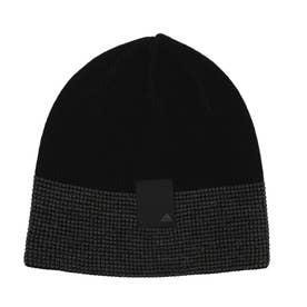 メンズ ゴルフ ニット帽子 ワッフル編み ビーニー GU8615 (ブラック)