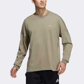 ルーズフィット長袖Tシャツ (グリーン)