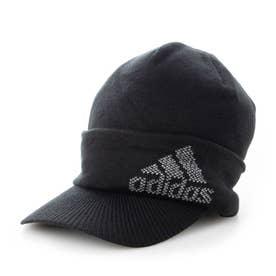 メンズ ゴルフ ニット帽子 ロゴバイザーニットキャップ GU8634 (ブラック)