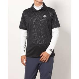 メンズ ゴルフ セットシャツ PRIMEGREEN エンボスパターン UPF50+レイヤードシャツ GU6125 (ブラック)