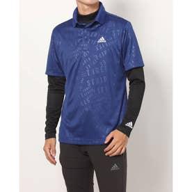 メンズ ゴルフ セットシャツ PRIMEGREEN エンボスパターン UPF50+レイヤードシャツ GU6124 (ネイビー)