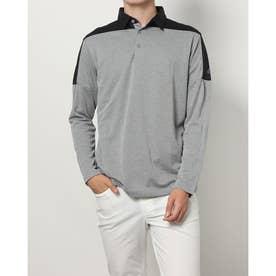 メンズ ゴルフ 長袖シャツ PRIMEGREEN カラーブロック 長袖シャツ H43769 (グレー)
