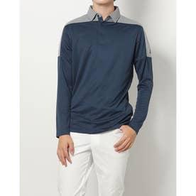 メンズ ゴルフ 長袖シャツ PRIMEGREEN カラーブロック 長袖シャツ H43770 (ネイビー)
