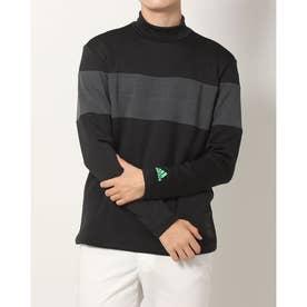 メンズ ゴルフ 長袖シャツ ファブリックミックス 保温 長袖モックネックシャツ GV1190 (ブラック)