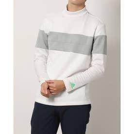 メンズ ゴルフ 長袖シャツ ファブリックミックス 保温 長袖モックネックシャツ GV1189 (ホワイト)