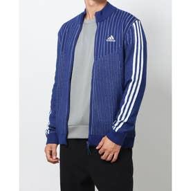 メンズ ゴルフ 長袖セーター スリーストライプス 防風 長袖ライニングフルジップセーター GV1204 (ネイビー)