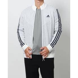 メンズ ゴルフ 長袖セーター スリーストライプス 防風 長袖ライニングフルジップセーター GV1191 (ホワイト)