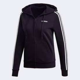 エッセンシャルズ 3ストライプス フリースパーカー / Essentials 3-Stripes Fleece Hoodie (ブラック)