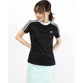 レディース ゴルフ 半袖シャツ スリーブストライプス 半袖モックネックシャツ GM3641 (ブラック)
