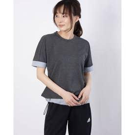レディース ゴルフ 半袖シャツ ファブリックミックス 半袖クルーネックシャツ GM0795 (グレー)