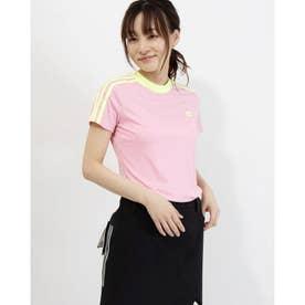 レディース ゴルフ 半袖シャツ スリーブストライプス 半袖モックネックシャツ GM3684 (ピンク)