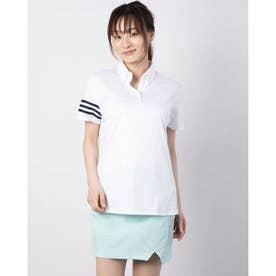 レディース ゴルフ 半袖シャツ エンボスプリント 半袖ボタンダウンシャツ GM3668 (ホワイト)