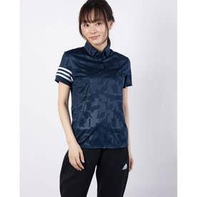 レディース ゴルフ 半袖シャツ エンボスプリント 半袖ボタンダウンシャツ GM3670 (ネイビー)