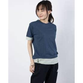 レディース ゴルフ 半袖シャツ ファブリックミックス 半袖クルーネックシャツ GM0794 (ネイビー)