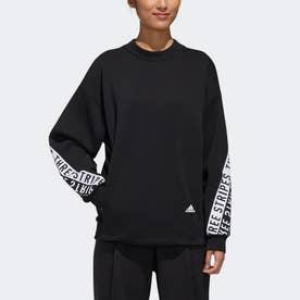 3ストライプス ワーディング クルーネック スウェットシャツ / 3-Stripes Wording Crew Sweatshirt (ブラック)