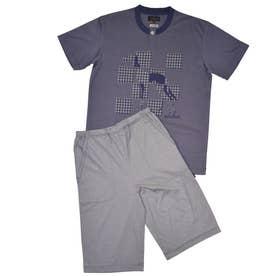 アダバット リラックスウェア アンダーウェア 半袖ハーフパンツニットパジャマ (ネイビー)
