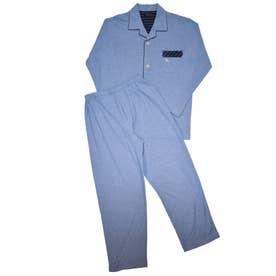 アダバット リラックスウェア アンダーウェア 長袖テーラード全開パジャマ (ブルー)