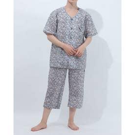アダバット リラックスウェア アンダーウェア 衿無し半袖七分丈パジャマ (グレー)
