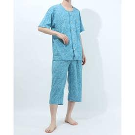 アダバット リラックスウェア アンダーウェア 衿無し半袖七分丈パジャマ (グリーン)