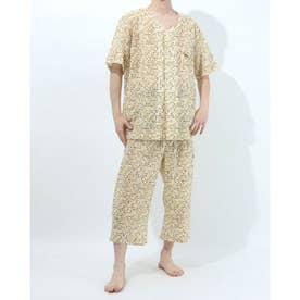 アダバット リラックスウェア アンダーウェア 衿無し半袖七分丈パジャマ (イエロー)