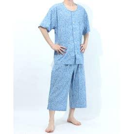 アダバット リラックスウェア アンダーウェア 衿無し半袖七分丈パジャマ (ブルー)