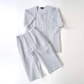 アダバット リラックスウェア アンダーウェア 衿なし半袖七分袖パジャマ (グレー)