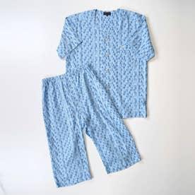 アダバット リラックスウェア アンダーウェア 衿なし半袖七分袖パジャマ (ブルーグリーン)