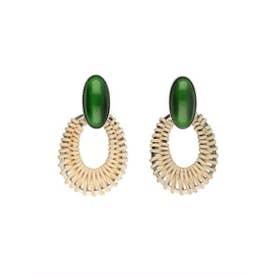 STONE rattan oval pierce (green)