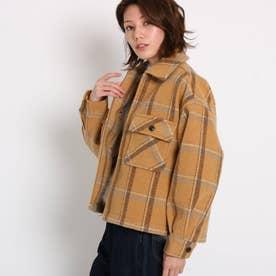 【GISELe12月号/MORE2月号掲載】起毛チェック柄フラップシャツジャケット (ベージュ)