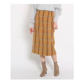 【GISELe12月号掲載/MORE2月号掲載/Lサイズあり】起毛チェック柄スカート (ベージュ)