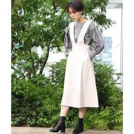 エコレザーAラインジャンパースカート (アイボリー)