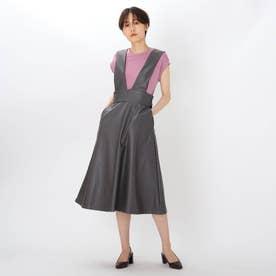 エコレザーAラインジャンパースカート (チャコールグレー)