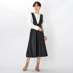 エコレザーAラインジャンパースカート (ブラック)