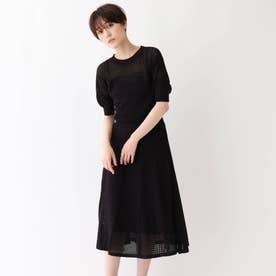 ◆【洗える】アイレットニットワンピース (ブラック)