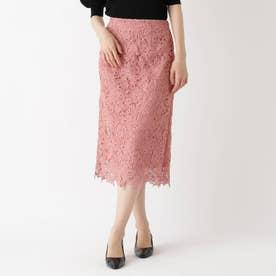 【Lサイズあり】花柄レースタイトスカート (ピンク)