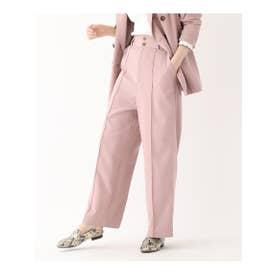 【洗える】センタータックストレッチワイドパンツ (ピンク)