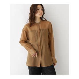 【洗える】シースルーオーガンジーシャツ (ブラウン(042))