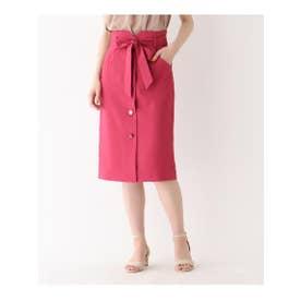 【洗える/Lサイズあり】ウエストリボンタイトスカート (ピンク(072))