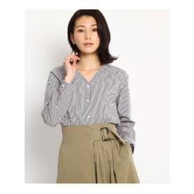 【美人百花3月号掲載】フェイクパール付きストライプシャツ (ブラウン(342))