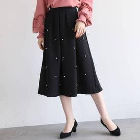 【Lサイズあり】ダブルクロスパール調ビジュー付フレアスカート (ブラック)