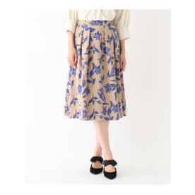 【WEB限定Lサイズあり】花柄タックフレアスカート (ベージュ)