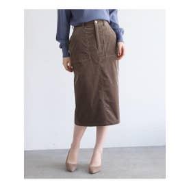 【Lサイズあり】コーデュロイタイトスカート (チャコールグレー)