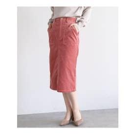 【Lサイズあり】コーデュロイタイトスカート (ベビーピンク)