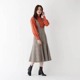 【WEB限定Lサイズあり】カラーライングレンチェックジャンパースカート (ブラウン)