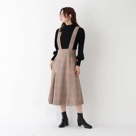 【WEB限定Lサイズあり】カラーライングレンチェックジャンパースカート (オレンジ)